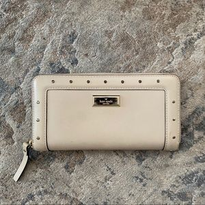 Kate Spade Beige Lacey Studded Wallet